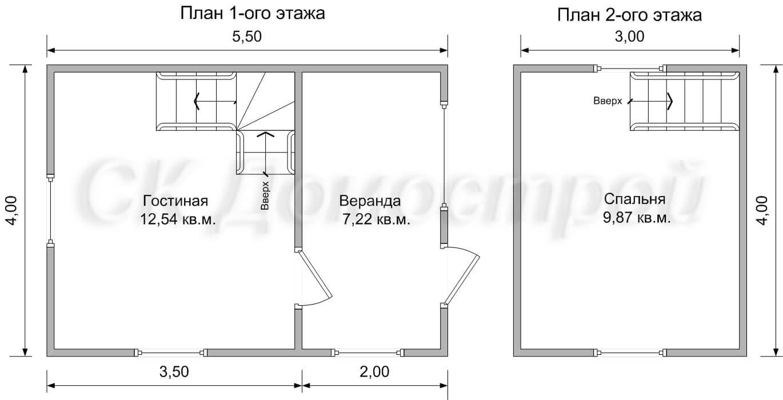 каркасный дом 6х4: чертеж