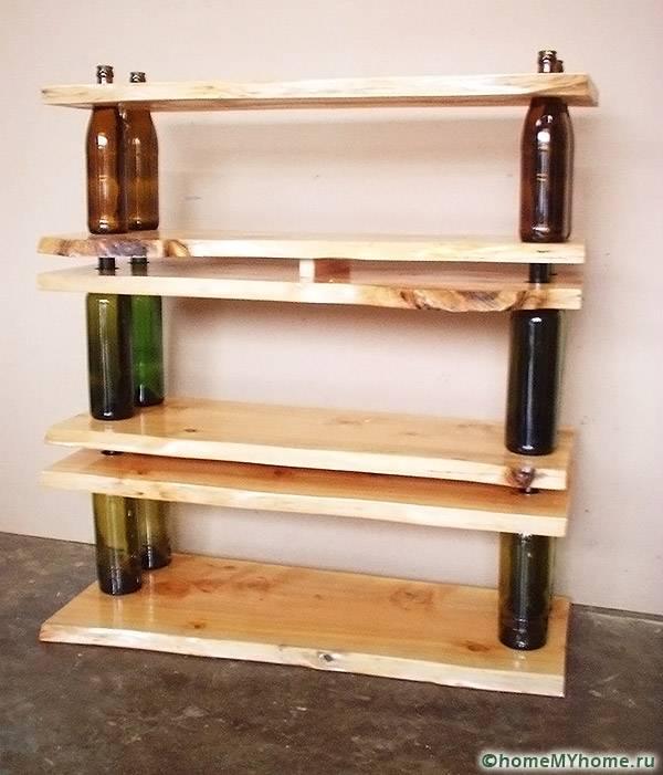 Использование для стоек стеклянных бутылок